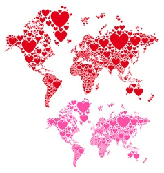 Love world map with red hearts vector image vector image