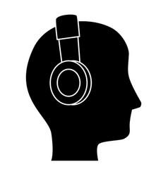 Man with headphones avatar character vector