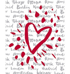 Postcard love Cities of the world vector image vector image