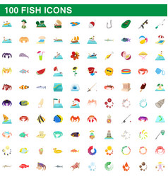 100 fish icons set cartoon style vector image vector image
