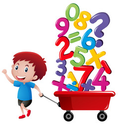 Boy pulling wagon with number blocks vector