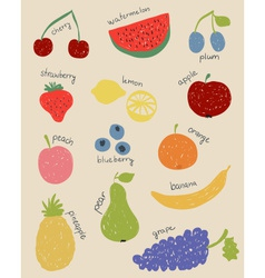 Doodle fruits in retro colors vector image