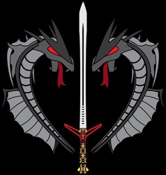 grey dragons and sword vector image vector image
