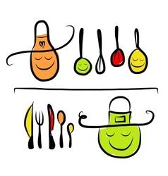 Kitchen utensils characters on shelves sketch vector image vector image
