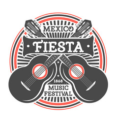 mexican fiesta vintage isolated label with guitar vector image vector image