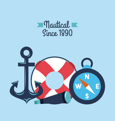 nautical anchor lifebouy spyglass compass symbols vector image vector image
