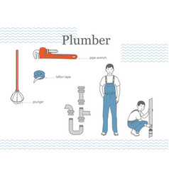 plumber at worck vector image vector image