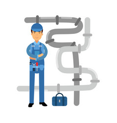 proffesional plumber character at work plumbing vector image