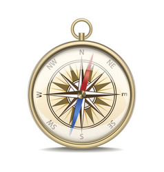 realistic detailed compass with windrose vector image vector image
