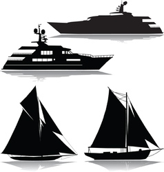 Yachts black silhouette vector image