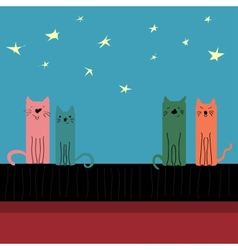 Colored cats sitting on the roof vector image vector image