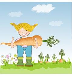gardener to harvest carrots vector image