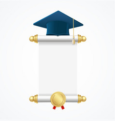graduated cap student and roll diploma vector image vector image