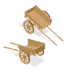 isometric vintage wooden cart flat 3d vector image
