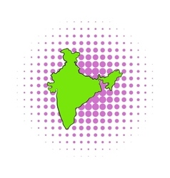 Map of india icon comics style vector