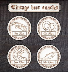 set snacks logo Contains crayfish pretzel sausage vector image vector image