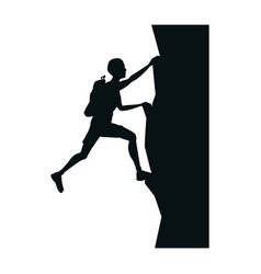 silhouette man climbing on a cliff graphic vector image