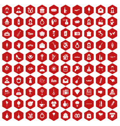 100 wedding icons hexagon red vector