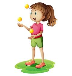 A cute little girl juggling vector image