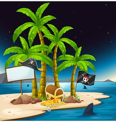 A pirate island with an empty signboard vector image
