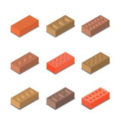 A set of isometric bricks vector