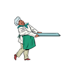 african chef cook with tray food vector image