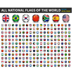 all national flags world circle metal vector image