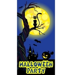 Background with castle bat moon pumpkin black vector image