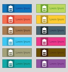Battery half level Low electricity icon sign Set vector