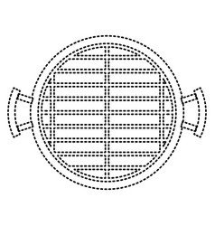 Bbq grill top view monochrome dotted silhouette vector