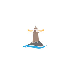 beacon lighthouse island in middle sea vector image