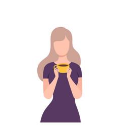 Beautiful blonde girl drinking coffee or tea vector