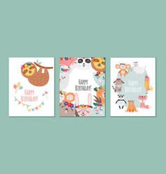 birthday cards set with animals in scandinavian vector image