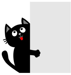 Black cat holding big empty signboard looking up vector