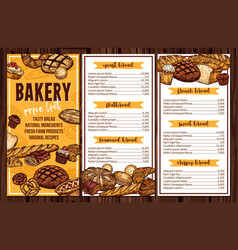 Bread pastry and bakery menu vector