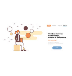 businesswoman chat bubble speech using laptop vector image