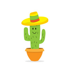 cactus cartoon character in pot isolated cactus vector image