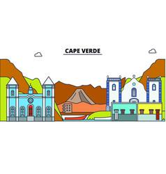 Cape verde line skyline cape vector