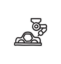 Car production sketch icon vector