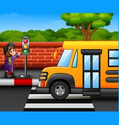 Cartoon little girl on the roadside vector