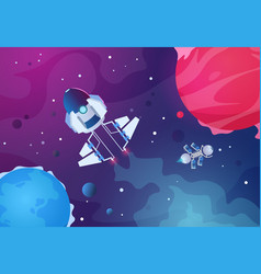 cartoon space background alien planets spaceship vector image