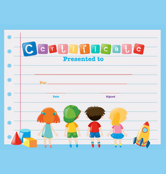 certificate template with children vector image