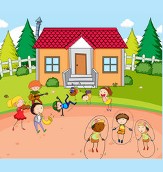 children play infront of house vector image