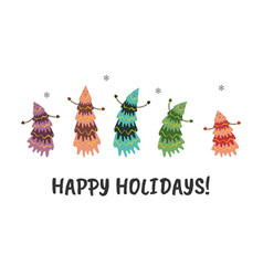 christmas and new year card with dancing vector image