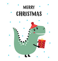 christmas card with dinosaur and present vector image