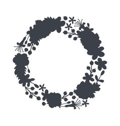 circular floral wreaths with leaves central vector image