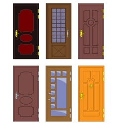 Classic interior and front wooden doors - vector image