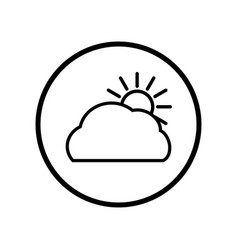 cloud and sun icon in circle line - iconic vector image
