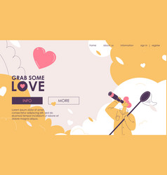 Concept landing page with a boy looks vector