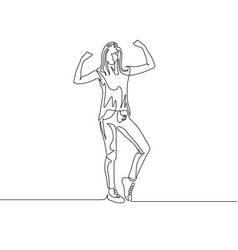 Continuous one line drawing standing girl power vector